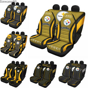 Pittsburgh Steelers Car Front Rear Seat Cover Universal Auto 5 Seater Protectors