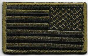 Dos Vert Olive Noir Nous Drapeau Patch hook & loop tape Crochet Fermeture