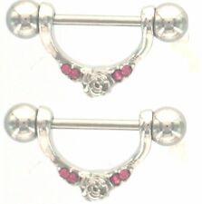 Nipple Shield Rings barbell barbells Rose sold as a pair 14 gauge