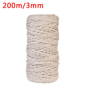 3MM 200M Macrame Rope Natural Cotton Twisted Cord Artisan Hand Craft