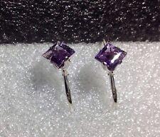 925 Sterling Silver Princess Cut Brazilian Amethyst Lever Back Earrings 2.30CTW