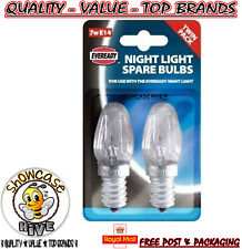 Pack Of 2 Eveready Night Light Replacement Spare Bulbs 7W E14 Screw Cap Fitting