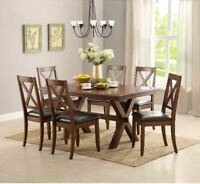 Farmhouse Dining Table Set Modern Rustic 7 Piece 6 Chairs Set Wood Kitchen Brown