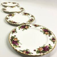 Set Of 4 Royal Albert Old Country Roses Salad Plates White Bone China Gold Trim