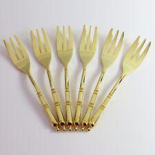 Vintage Gold Plated Cake/Sweet Dessert Forks, 6 pc Set