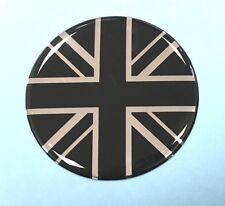 40mm Diameter UNION JACK FLAG Sticker/Decal CHROME & BLACK - GLOSS DOMED GEL  UK