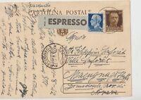 ITALIA 1942 EXPRESS INTERO POSTALE PER MACUGNAGA NOVARA