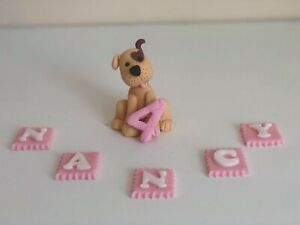 Edible dog best friend animal personalised cake topper 3D handmade decoration