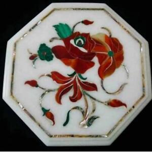 "15"" Marble Corner Table Top Handmade Semi precious stones floral Art"