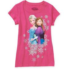DISNEY FROZEN SISTER Elsa Anna Graphic Tee Fuchsia Pink T-Shirt Child Small 6 6x