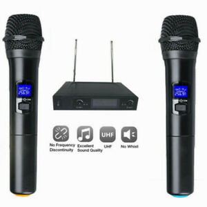 Professional 2 Channel UHF Wireless Microphone Mic System Dual Handheld Karaoke