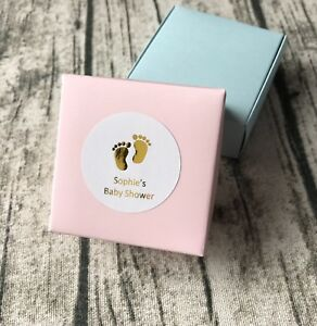 24x Gold Foil Baby Feet Personalized Baby Shower Gift Labels Favour box Stickers