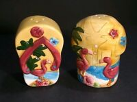 Collector's Salt and Pepper Shakers HAWAIIAN SHIRT and SANDAL Flamingo Floral