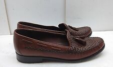 Cole Haan Women Brown Woven Leather Loafers Apron Toe Tassel Slip Dress Shoes 8B