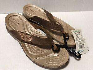 Crocs Wedges Flip Flop Sz 10 W Womens New NWT Metallic Brown Dual Comfort Sandal