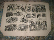 HUGE GORGEOUS ANTIQUE 1880 YACHT YACHTING BRITISH MARITIME PRINT BOAT BOATING NR