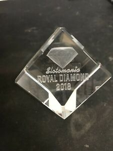 Slotomania Royal Diamond 2018 Prize - Glass Etched Trophy - RARE HOF