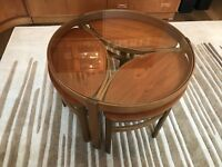 Mid Century Nathan Trio Glass Coffee Table With Nest Of Tables Teak Retro MCM