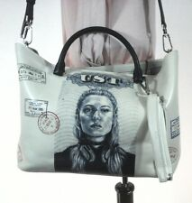 TUMI Langley Tote Purse UST United States of Tumi Cream/Blk Woman Passport $595