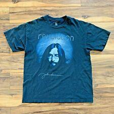Vintage Black John Lennon Beatles Revolution Signature Mens L Cotton t-shirt