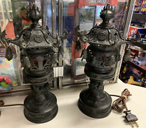 Lot of Two (2) Early 20th Century Japanese Bronze Urns Mounted as Lamps.