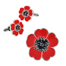PinMart's Memorial Day Red Poppy Flower Lapel Pin and Cufflinks 2 Piece Bundle