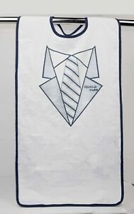 """2 Pack of Extra Long Waterproof Adult Bibs 17.5"""" x 36"""" Suit/Tuxedo White"""