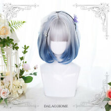 Harajuku Kawaii Japan Lolita Wig Short Gray Gradient Blue Daily Hair +Cap+No.