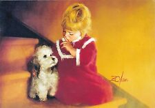 RARE DONALD ZOLAN little girl with dog on the stairs unposted modern postcard