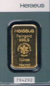 HERAEUS 1 Goldbarren 31,1 Gramm LBMA Zertifiziert Feingehalt 999,9 Prägefrisch !