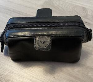Schöne Schwarze kosmetiktasche klein Von Lufthansa Aus Leder Ist Wie Neu!!!