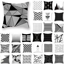 Black & White Accent Geometric Throw PILLOW COVER Sofa Couch Cushion Case 18x18""