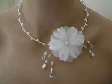 Collier Blanc/Argenté pr robe de Mariée/Mariage/Soirée, perles Fleur original