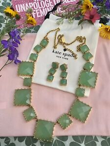 GORGEOUS KATE SPADE PALM PEARLS LONG NECKLACE & EARRINGS SET CHALCEDONY GREEN