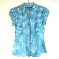 TM Lewin Women's Blue Spotty Short Sleeved Summer Shirt Blouse - UK Size 6