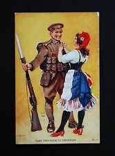 WW1 Postcard Tipperary Soldier Rifle Fixed Bayonet High St Newport Pagnell Bucks