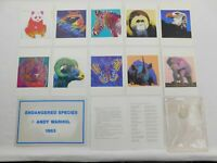 1983 Rare ANDY WARHOL - Endangered Species Set 10 Announcement Cards + Sticker!!