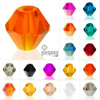 4mm 6mm 8mm Bicone CZ Glass Crystal Beads For Jewelry Making DIY