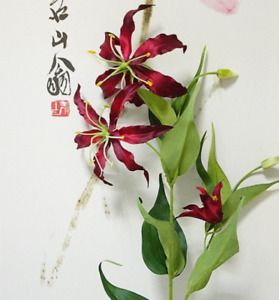 Wine Red Lily Fake Flowers Lily Single Branch Artificial Flowers Home Decor 1pcs