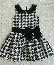 The Childrens Place girls dressy hound tooth black while dress sz 5