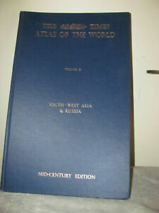 1959 London TIMES ATLAS OF THE WORLD Vol. II Southwest Asia & Russia