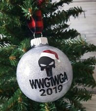 WWG1WGA Christmas Ornament Silver Glitter Shatter Proof Qanon Q 2019
