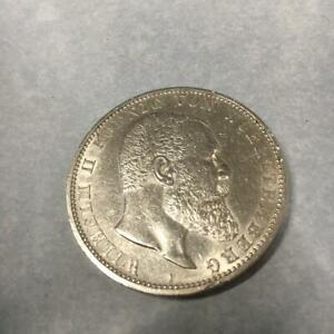 5 Mark Würtemberg König Wilhelm II 1913 J. 176 Silber