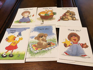 Vintage Suzy's Zoo Thank You Note Cards Ollie/bear/Suzy