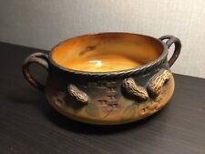 Nippon Morimura Nut Bowl c.1912 2-Handled Brown Basket Weave w/Peanuts