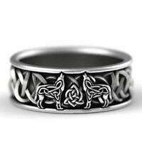 Vintage Celtic Knot Viking Wolf Stainless Steel Ring Men's Wedding Band Jewelry