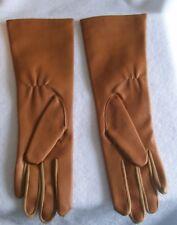 "Women'S Vintage Brown Vinyl Long Fourchettes Gloves Size A- 6/7 12 "" Long"
