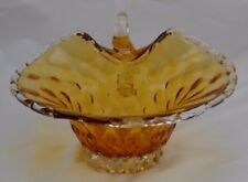 Murano Amber Dish Bowl  with Applied Handle Gold Flecks Scalloped Edge