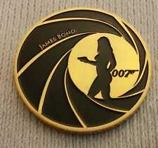 James Bond Gold Coin Signed Medal Naked Lady Silhouette Legend 007 London Retro