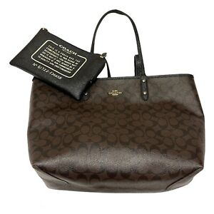 Coach City Tote Bag Signature CC Reversible Black Brown with Zip Pouch F36658